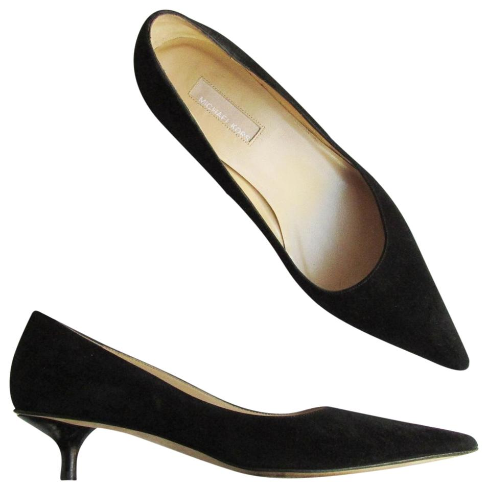 1fdc130fe5 Michael Kors Collection Black Suede Kitten Pumps Size US 7 Regular ...