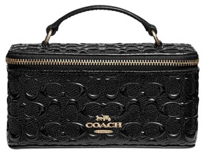 Coach NWT COACH VANITY JEWELRY CASE IN SIGNATURE PATENT LEATHER BLACK