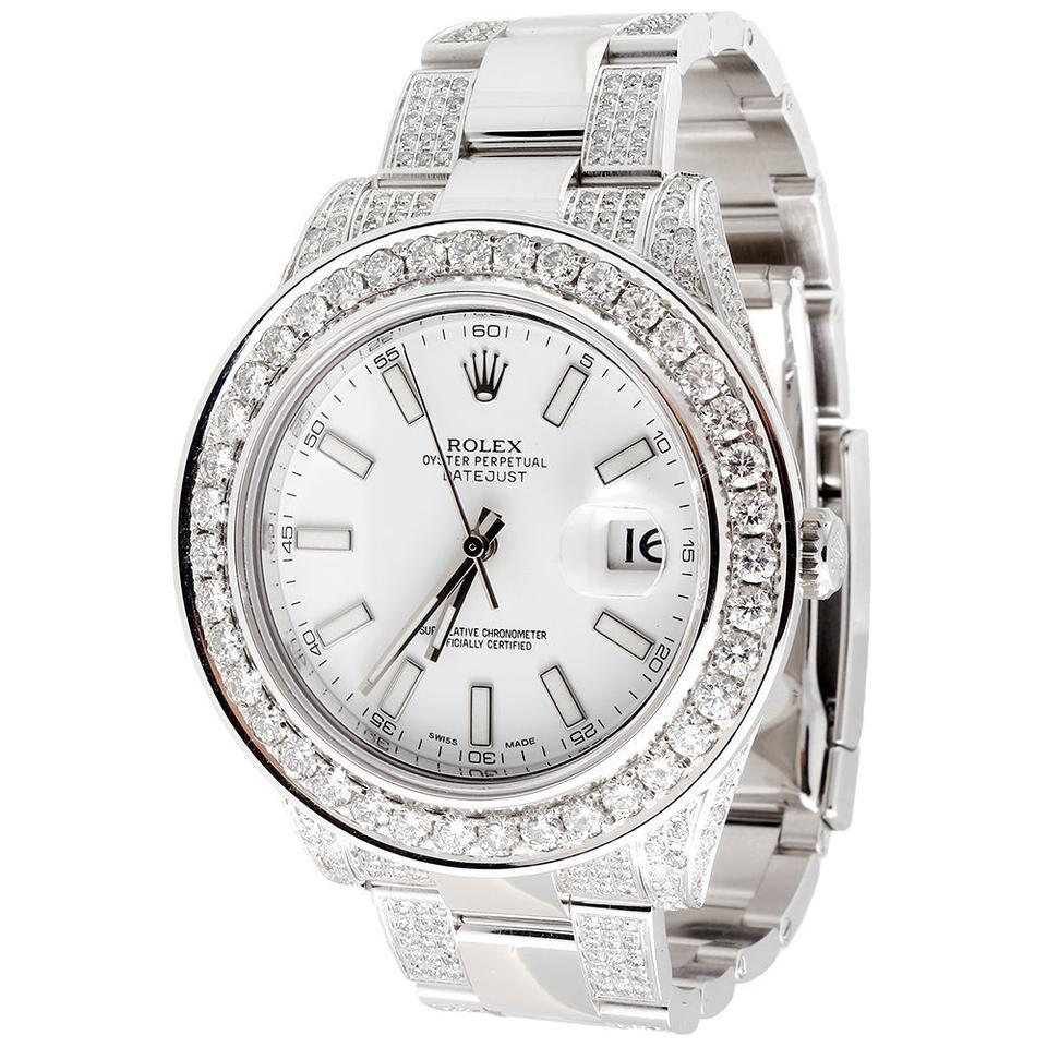 rolex stainless steel white stick dial mens ref 116300 datejust ii 41mm oyster diamond. Black Bedroom Furniture Sets. Home Design Ideas