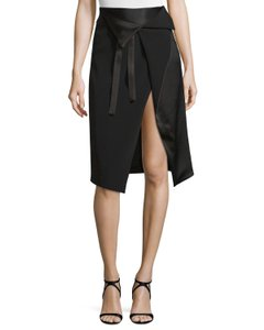 Halston Wrap Draped Skirt Black
