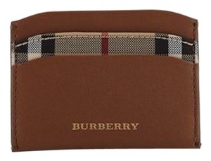 Burberry BURBERRY HORSEFERRY CHECK TAN IZZY SOFT LEATHER CARD CASE WALLET