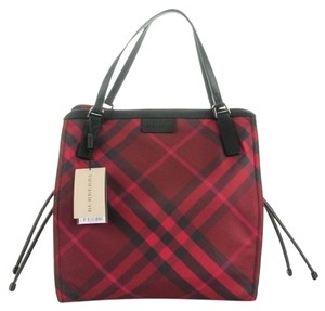 Burberry Nylon Signature Tote In Red