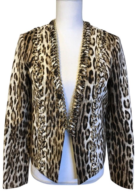 Item - Brown Leopard Print Jacket with Gold Chains Blazer Size 6 (S)