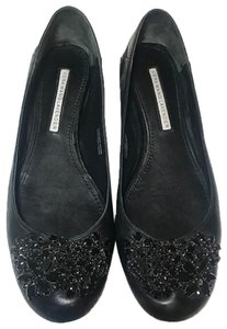 Vera Wang Lavender Label Leather Crystals Gift Loafers Black Flats