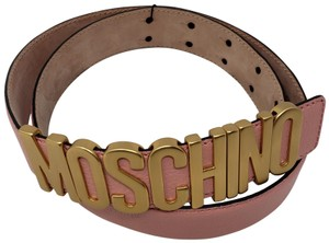 Moschino Blush leather Moschino gold letters logo belt 42 sz