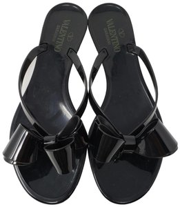 Valentino Jelly Bow Embellished Rockstud Lace Black Sandals