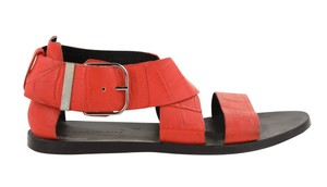 Balenciaga Textured Leather Gladiator Red Sandals