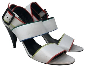 Pierre Hardy Medium Heel White leather and color piping Sandals