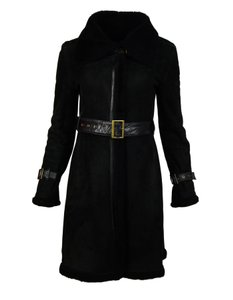 Searle Moto Shearling Leather Suede Fur Coat