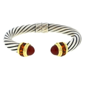 David Yurman David Yurman Renaissance TwoTone Cable Square Citrine Carnelian Bangle