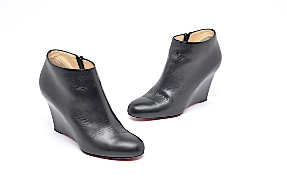2da865476c9 Christian Louboutin Black Leather Wedge Heel Red Sole Boots/Booties Size EU  38.5 (Approx. US 8.5) Regular (M, B)