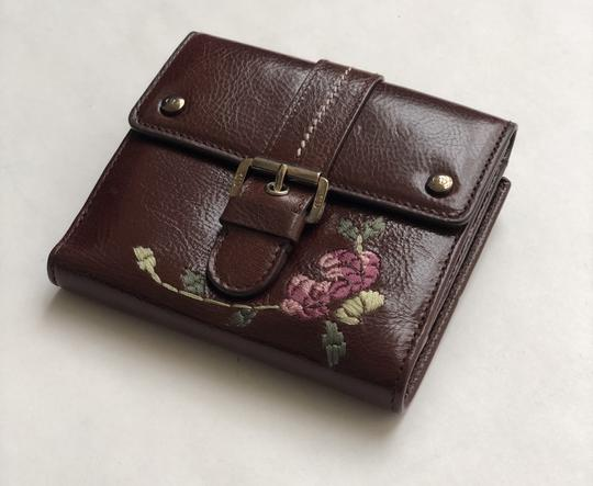 625b782f Dior Brown Vintage Women's Leather with Romantic Flowers Embroidery Wallet