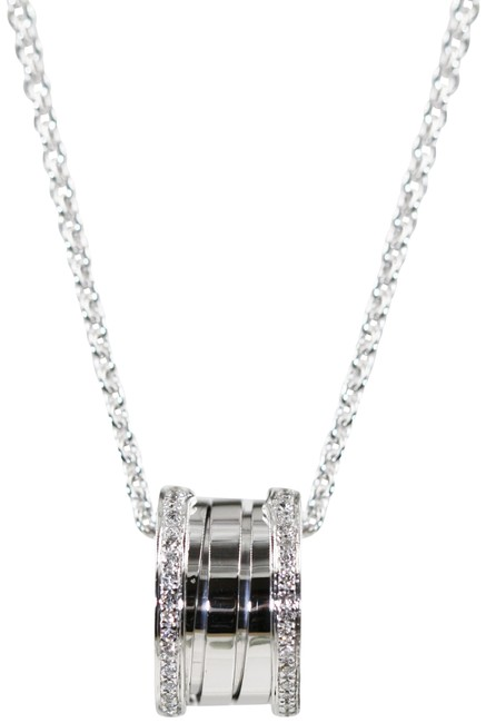 Item - B. Zero 18k White Gold Diamond Paved Necklace