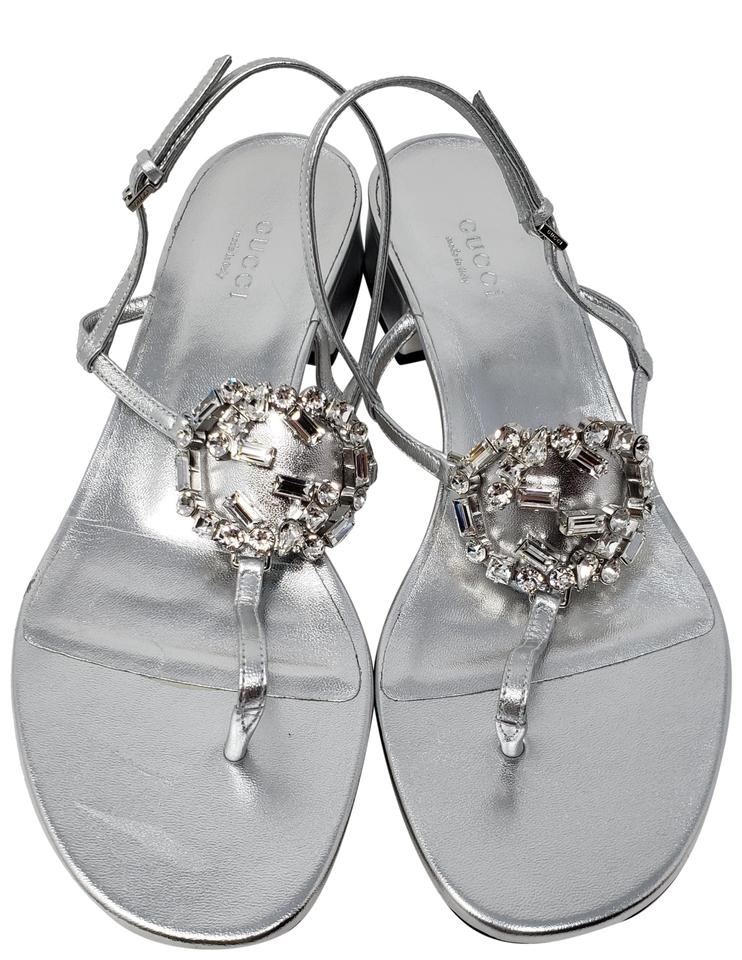 Gucci Hardware Crystal Ankle Strap Metallic Silver Sandals Image 0 ...