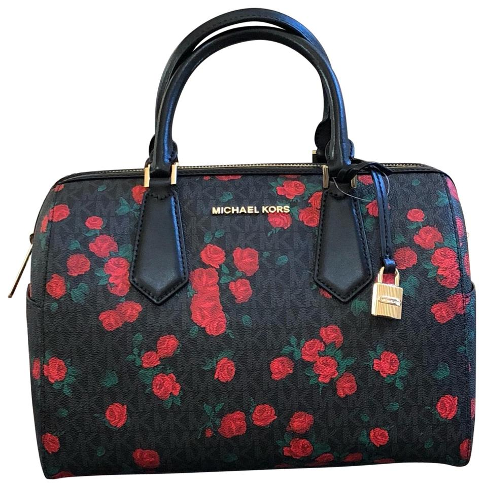 16217fa1cd5d Michael Kors Duffle Hayes Floral Roses Handbag Black Pvc/Leather ...
