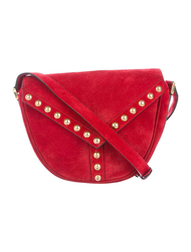 22d6075d8a40 Saint Laurent Ysl Y Studded New Besace Saddle 439143 Red Suede Cross Body  Bag