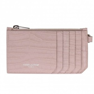 Pink Classic 5 Fragments Zip Pouch with Key Ring In Crocodile Embossed Shiny Leather Card Case Card Hold Pink Classic 5 Fragments Zip Pouch with Key Ring In Crocodile Embossed Shiny Leather Card Case Card Hold
