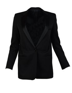 Céline Single Button Satin Black Blazer