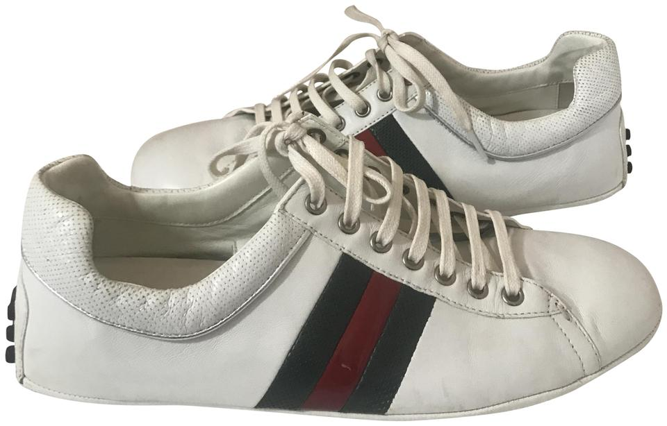 1c185b42ada Gucci White 1091218 Mens Leather Web Sneakers W Rubber Dots Bottom ...