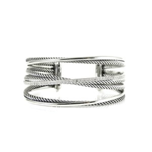 David Yurman David Yurman Sterling Silver .65tcw 4-Row Pave Diamond Crossover Cuff