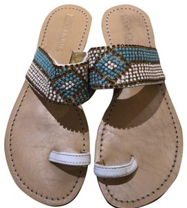 Mystique Boutique turquoise and white sandal Sandals
