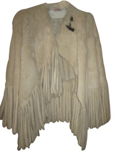 Mathew Williamson Fur Poncho/coat White Sheared Rabbit Fur Coat