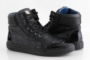 MCM Black Monogram Canvas High Top Sneakers Shoes
