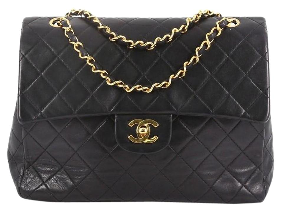 fdd5a2bcae6a72 Chanel Classic Flap Vintage Square Classic Double Quilted Medium Black  Leather Shoulder Bag