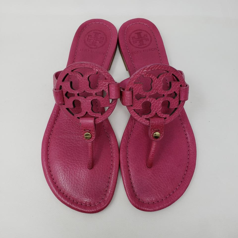 951f2a56f Tory Burch Pink Leather Miller Flat Sandals Size US 8 Regular (M