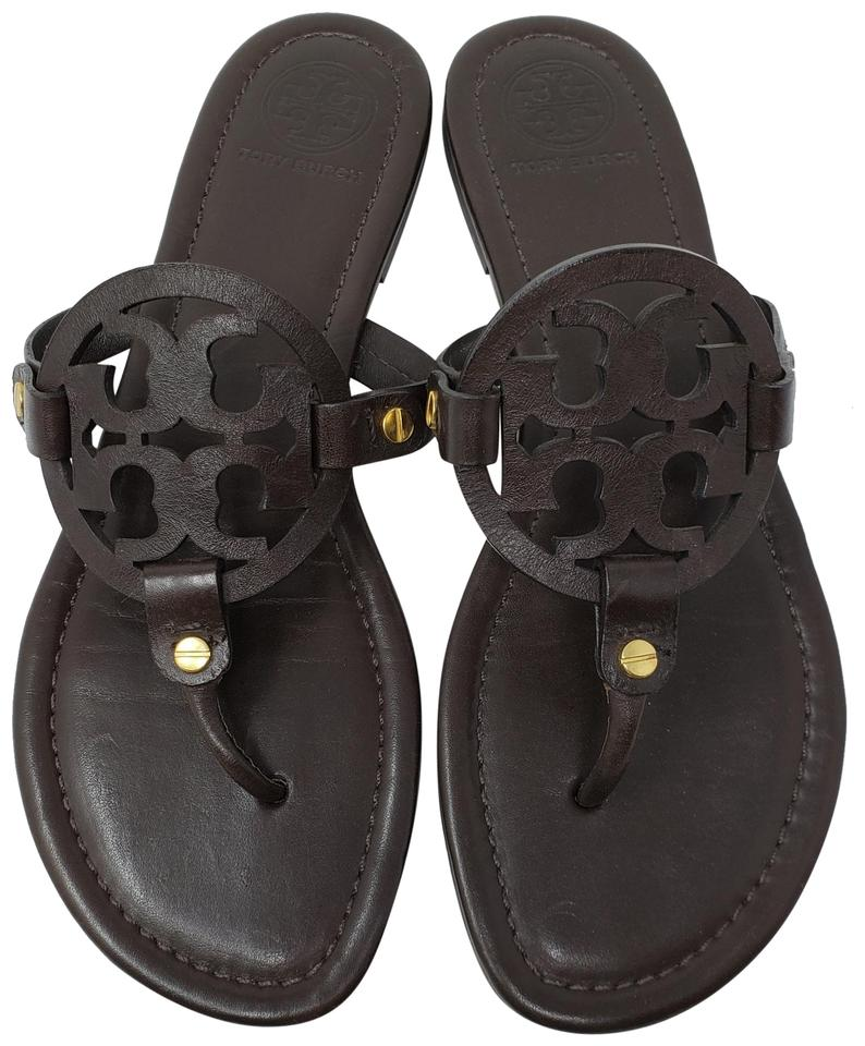 e06b7418c5de0f Tory Burch Brown Leather Miller Round-toe Thongs Sandals Size US 9.5 ...