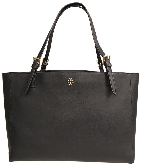 Item - Lg York Buckle Laptop Saffiano Navy Blue Gold Leather Tote