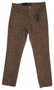 Chaps Leopard Jeans Slim Fit Straight Pants Black and Tan Print