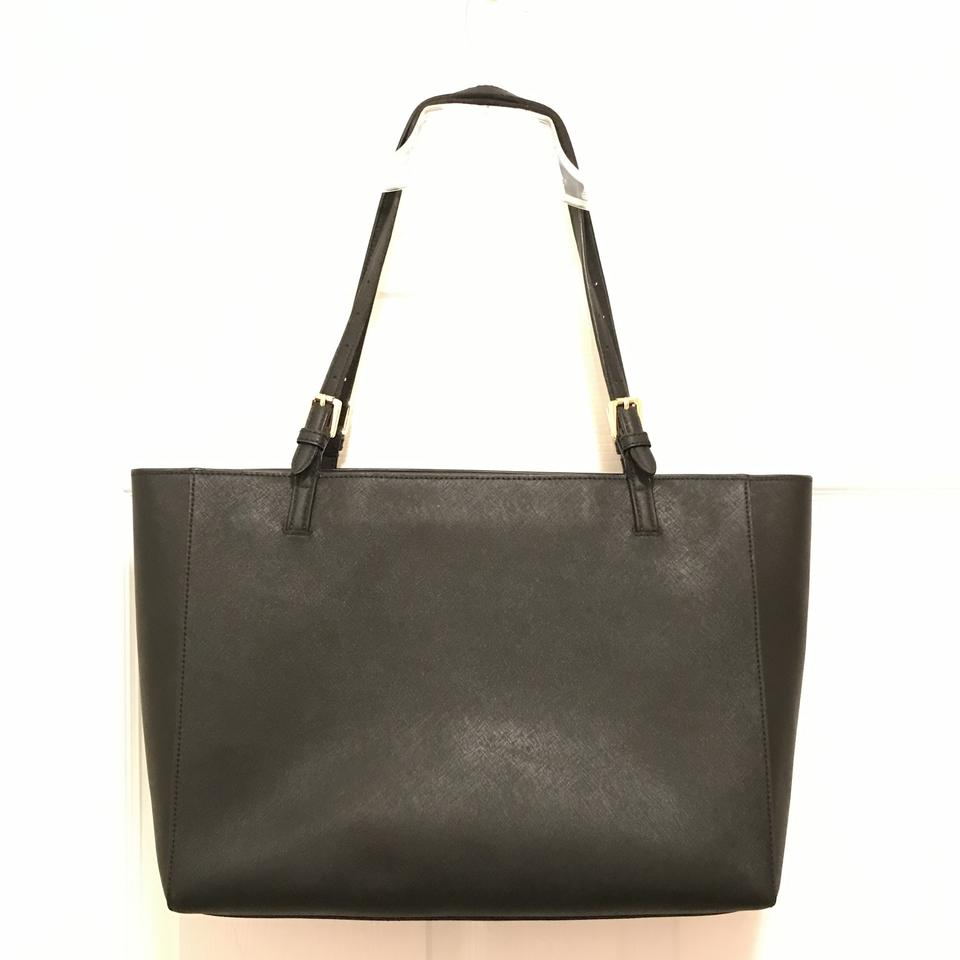 8a2280ea2e4c Tory Burch Large York Buckle Laptop Saffiano Black Gold Leather Tote ...