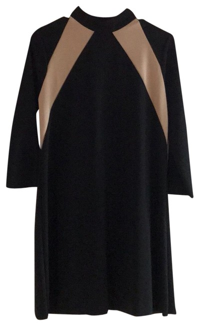 Item - Black and Cream A Line Mid-length Work/Office Dress Size 4 (S)
