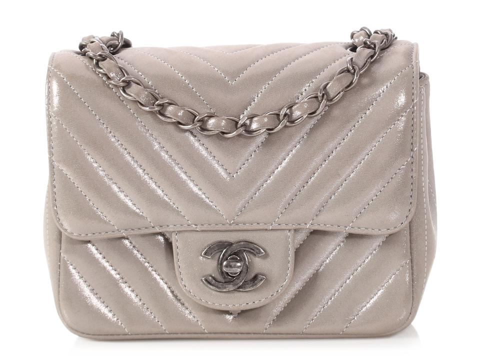 f91a689dfeab Chanel Classic Flap Mini Chevron Quilted Silver Gray Calfskin Leather Cross  Body Bag