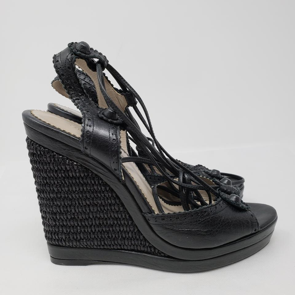 38b9afefc05 Balenciaga Black Leather Arena Strappy Wedge Sandals Size EU 39 ...