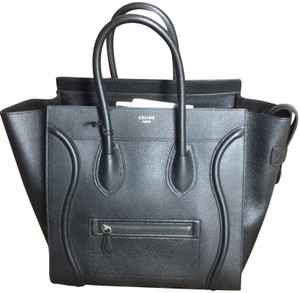 8093cd83e97c Céline Made In Italy Pebbled Leather Mini Luggage Leather Satchel in Black