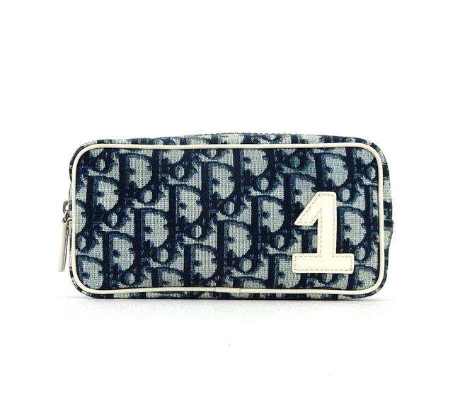 Item - Blue Trotter Monogram Canvas Leather Travel Pouch Cosmetic Bag