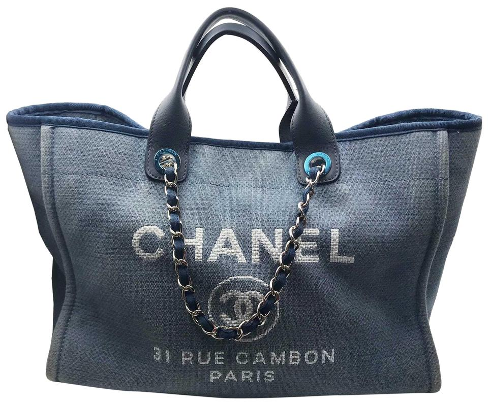 b37ab957ee46 Chanel Deauville Cloth Large Blue Canvas Leather Tote - Tradesy