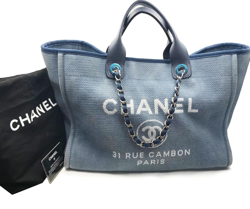 f0d401ab4450 Chanel Deauville Bag Cloth Large Blue Canvas Leather Tote - Tradesy