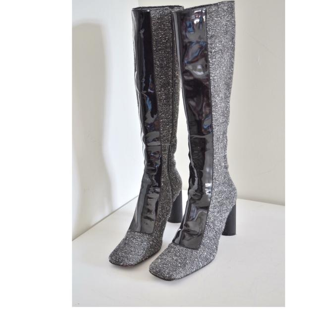 Item - Black & Gray Leather Tweed Boots/Booties Size US 5 Regular (M, B)
