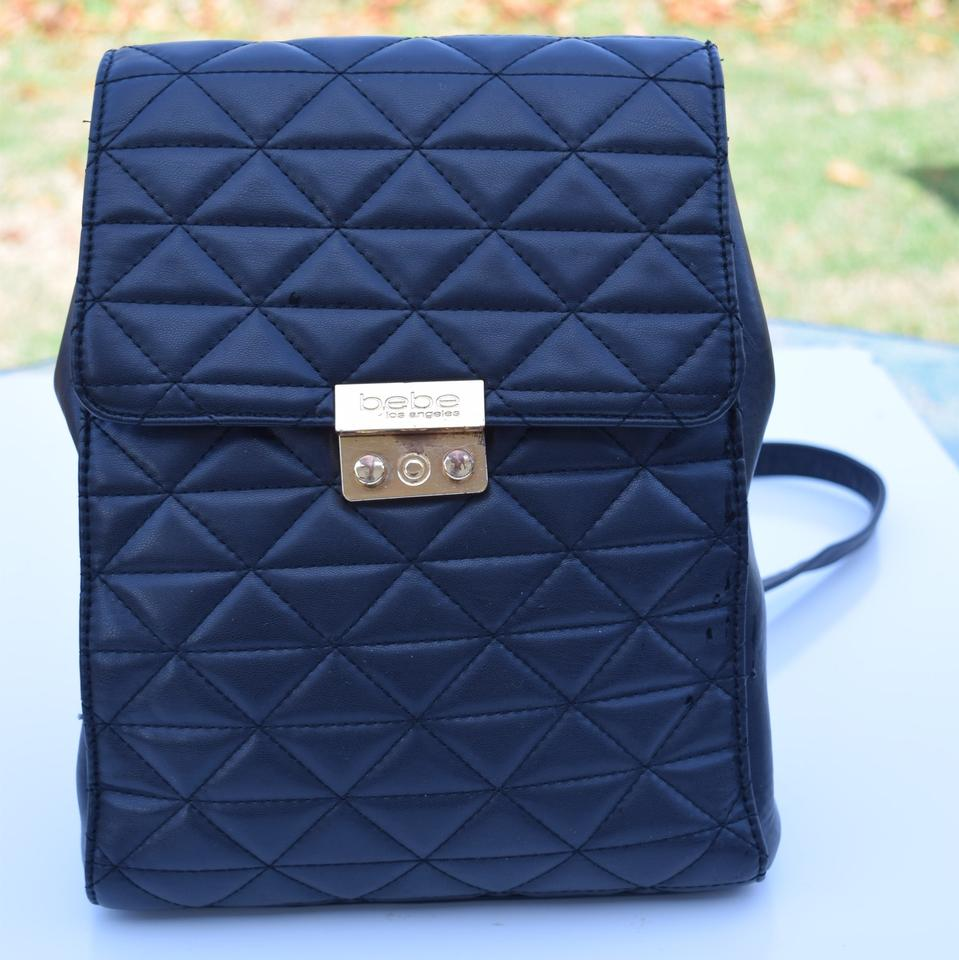 545e9585cb bebe Quilted Black Faux Leather Backpack - Tradesy
