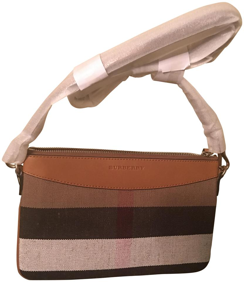 Burberry Peyton House Check Black Saddle Brown Canvas and Leather ... 6f753fa223