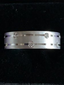 14k W/G Diamond White Gold Men's Wedding Band