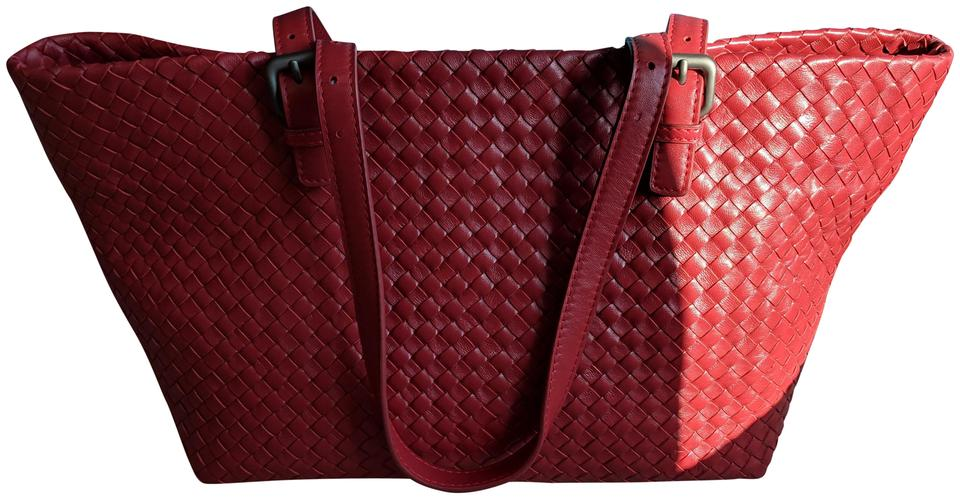 7634f042eead Bottega Veneta Intrecciato Nappa Large Cesta Red Leather Tote - Tradesy