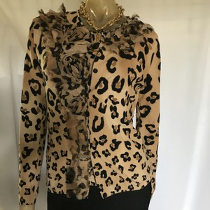 Blumarine Animal Print Rare Silk Ruffle Sweater