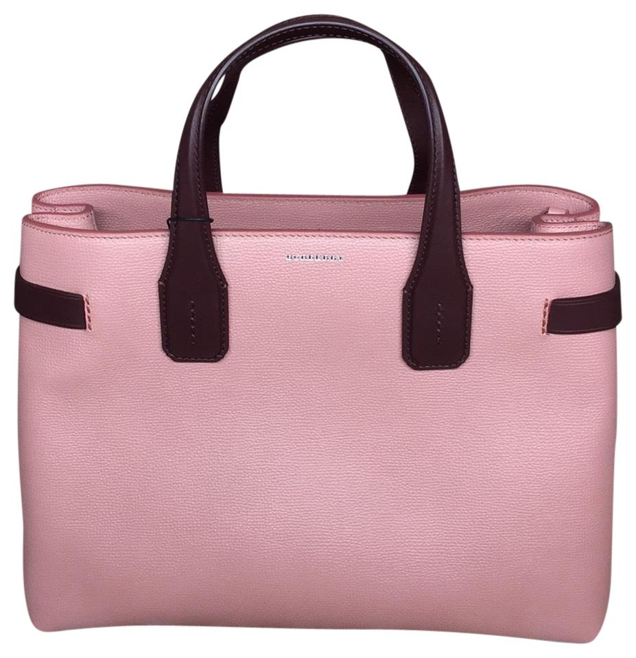 b196637021ae Burberry London Made In Italy Derby Leather Leather Tote in Dusty Rose   DP  Claret Image ...
