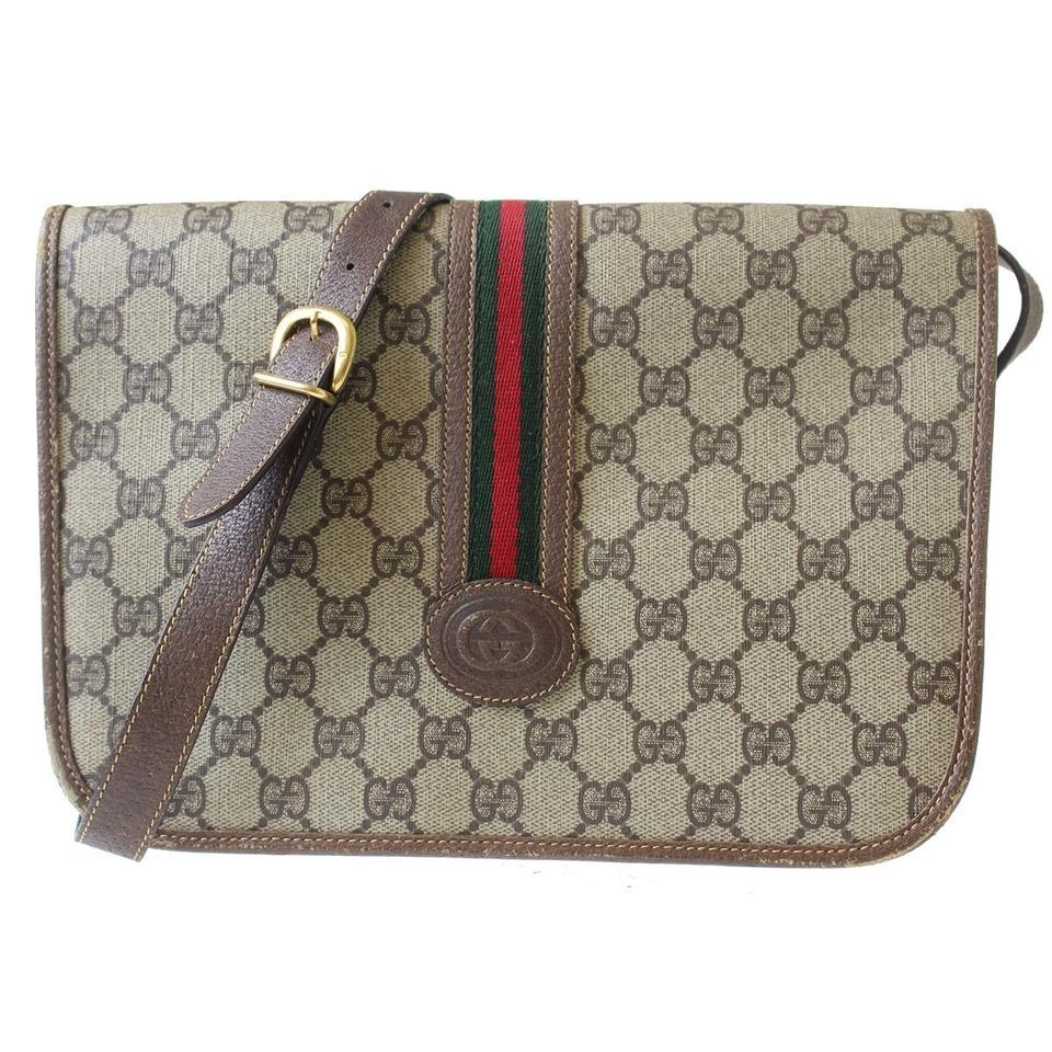 c10c86374362 Gucci Excellent Vintage Rare Rare Style Messenger Cross Body Red Green  Stripe brown leather ...