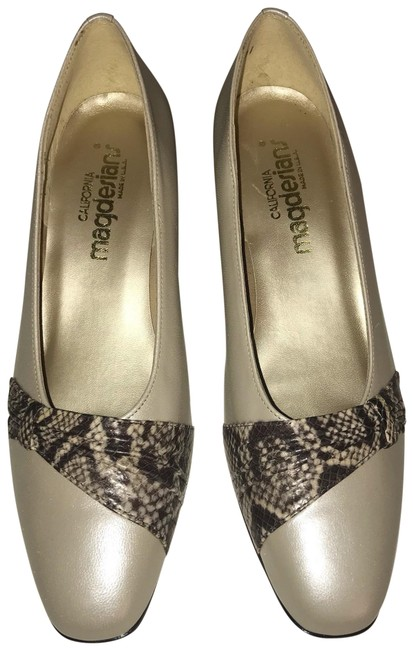 Item - Cream Brown Tan Vintage Pearlized Leather with Snakeskin Trim Formal Shoes Size US 9 Regular (M, B)