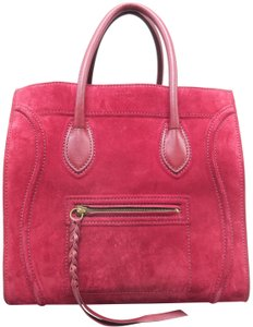 Céline Cabas Phantom Suede Tote in Red